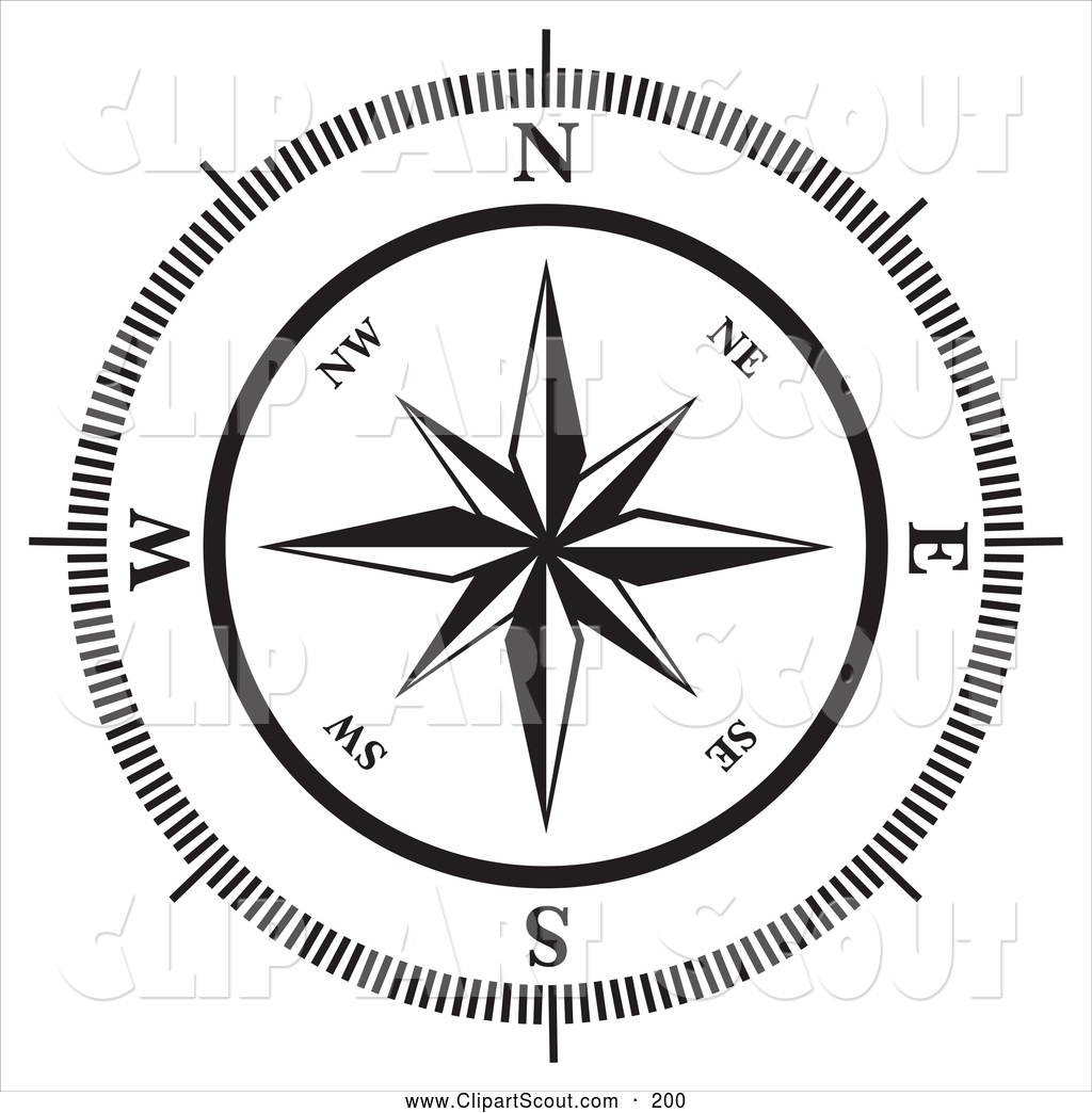 Clipart of a Black and White Compass Rose on White by ...