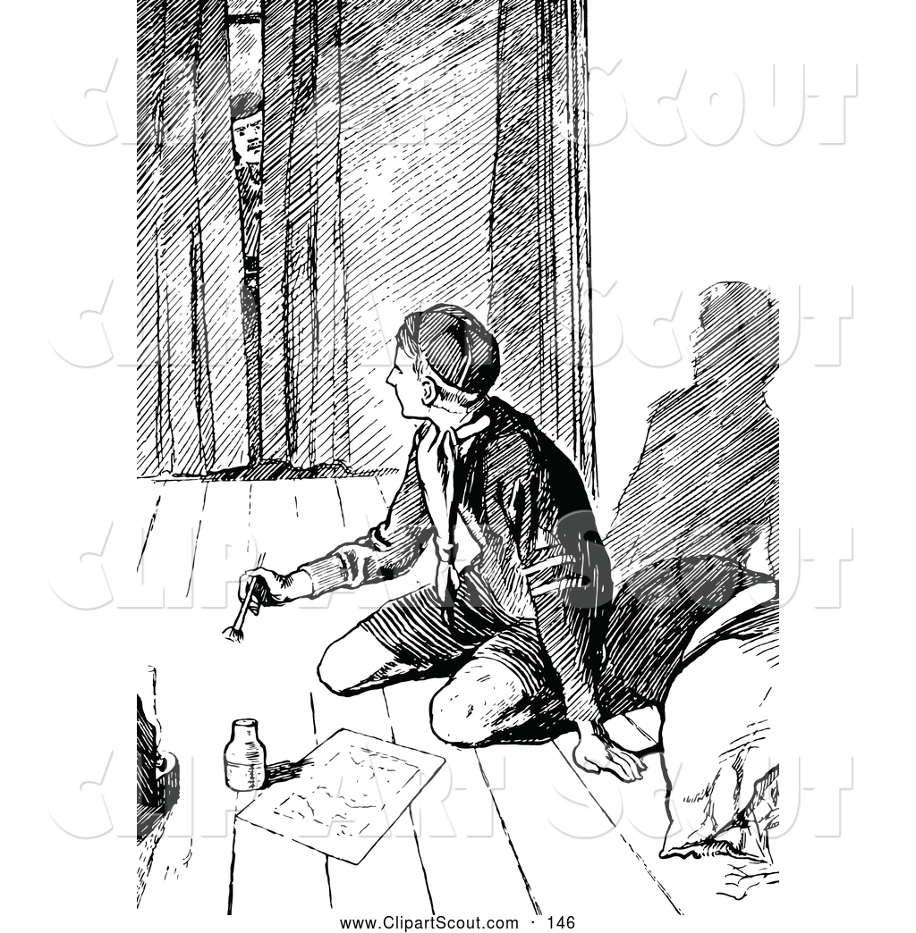 Boy Scout Essay With Quotes: Clipart Of A Black And White Man Peeking In At A Boy Scout