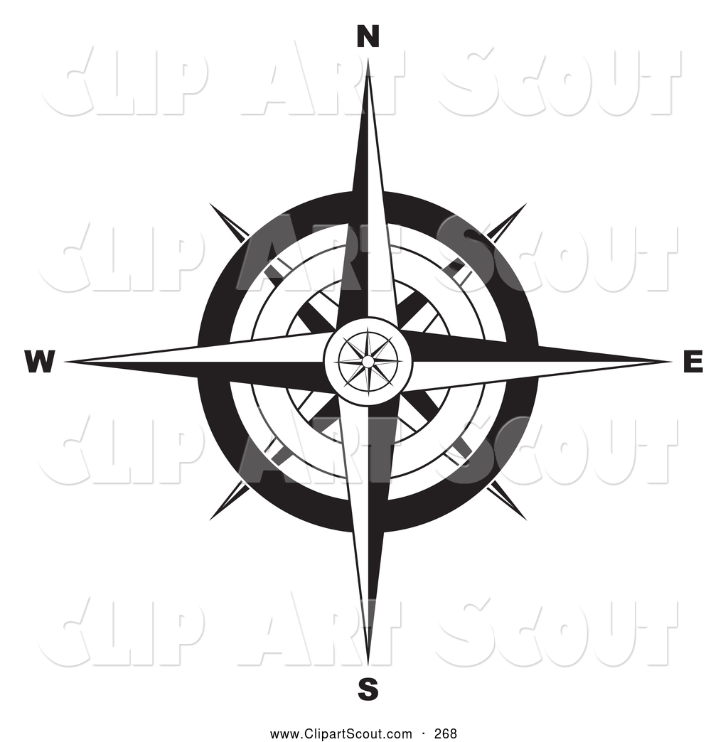 Clipart of a Black and White Compass Rose Clipart Black And White