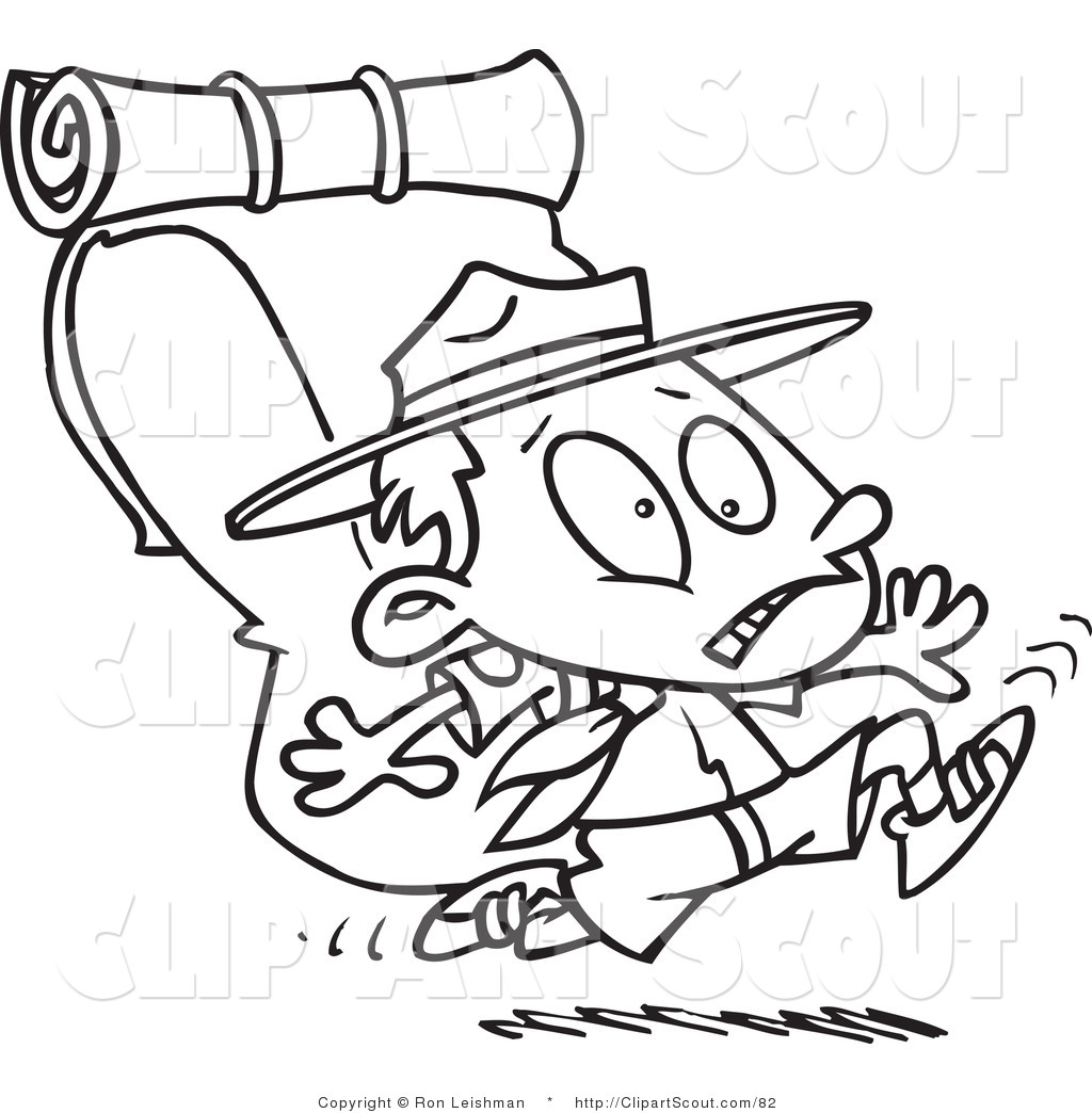 Cartoon Black And White Outline Design Coloring Page Of A Boy Scout Running With Big Back Pack