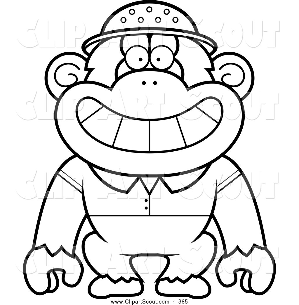 Clipart of a Coloring Page Black and White Chimpanzee Explorer by