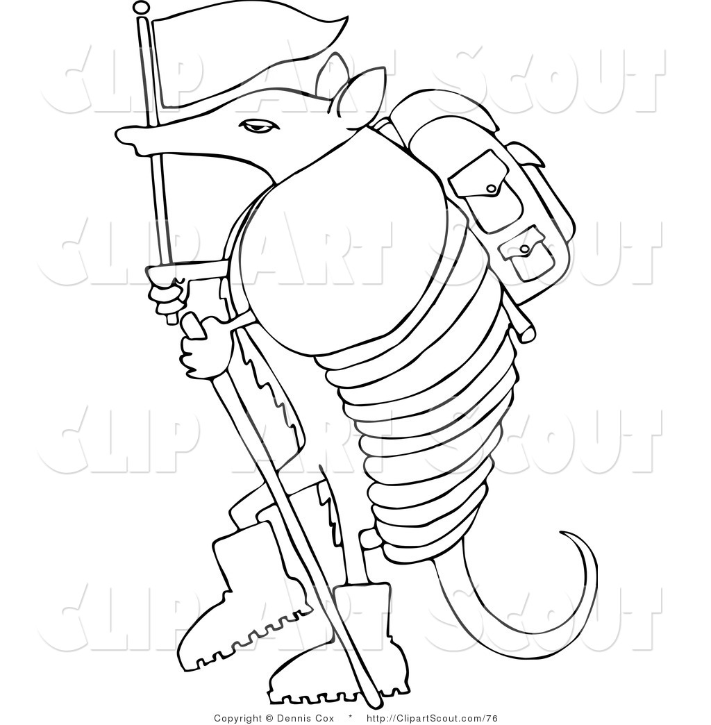 coloring page of a hiker armadillo with a flag and stick