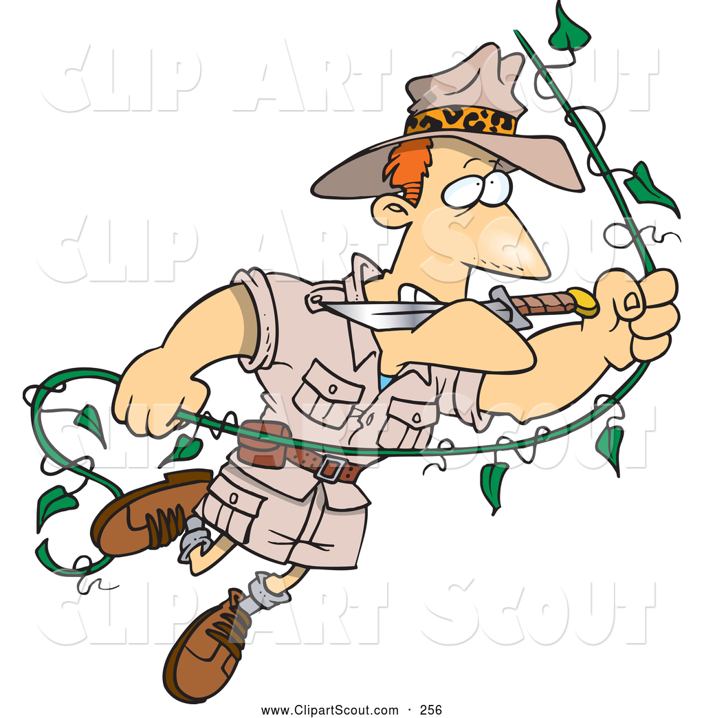 Clipart of a Cute Cartoon Explorer Man Swinging on a Vine by Ron ...