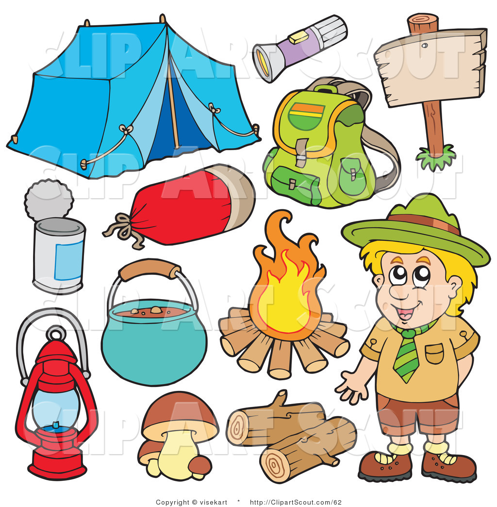 Clipart Of A Digital Collage Smiling Camper And Camping Gear