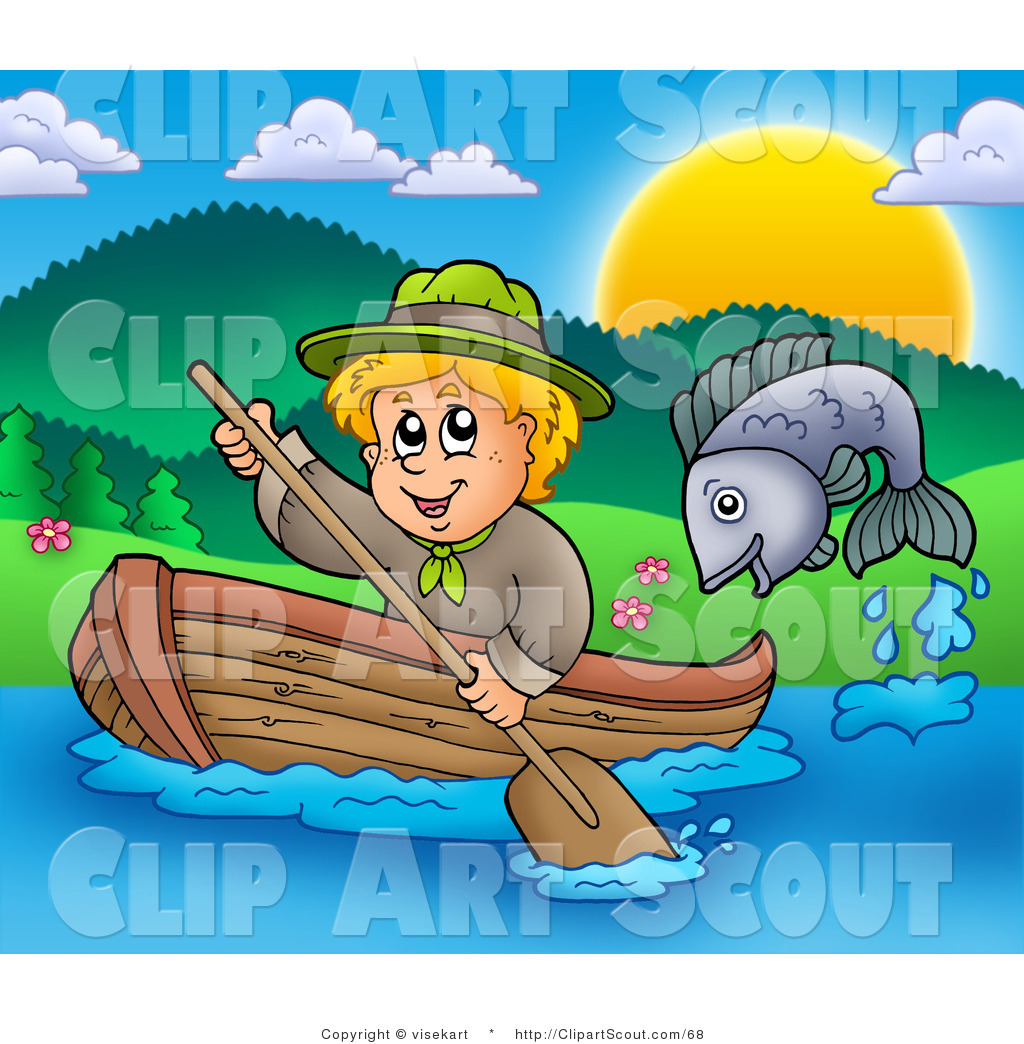 Clipart Of A Fish Jumping Out The Water Near Blond Scout Boy Rowing