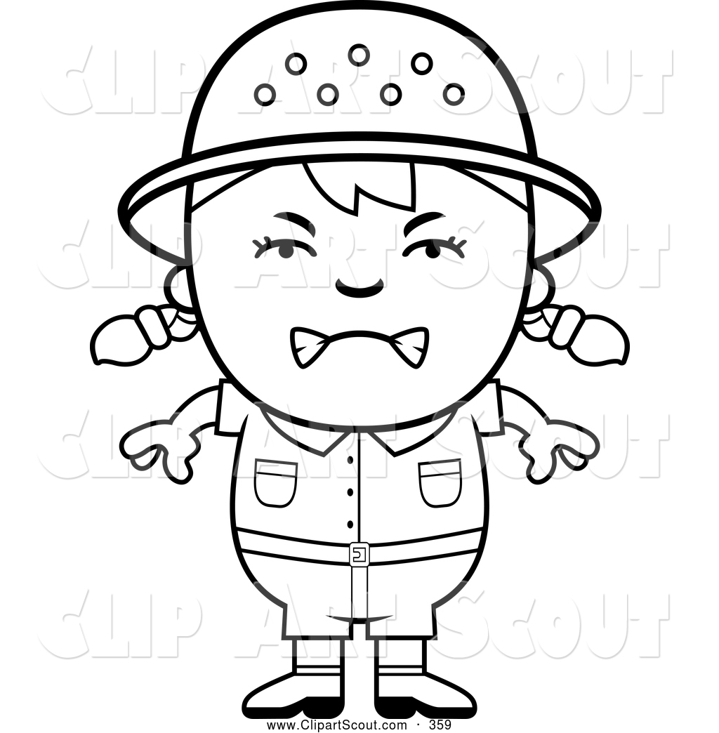 Clipart Of A Frustrated Black And White Angry Safari Girl