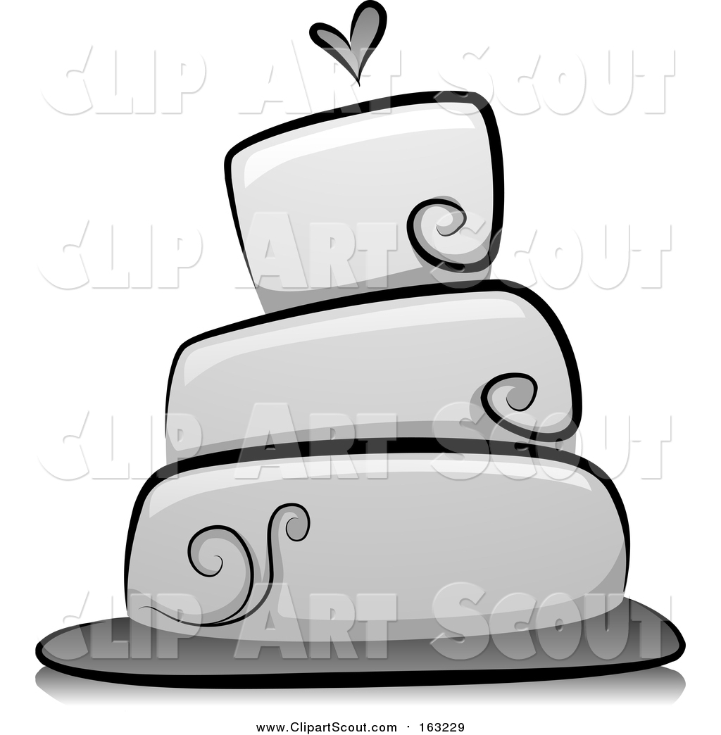 Clipart Of A Grayscale Wedding Cake With Heart
