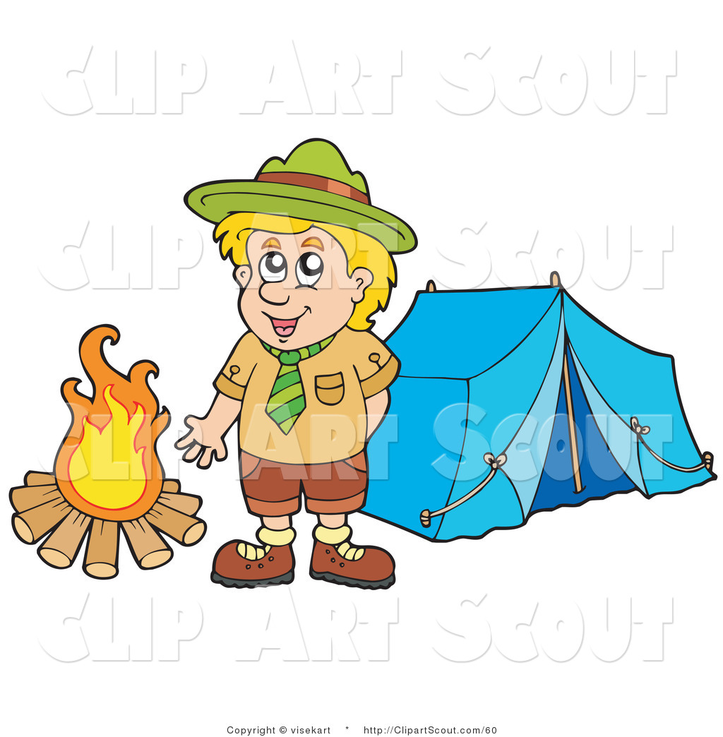 Clipart Of A Happy Scout Boy Standing By A Camp Fire By Visekart - Camping clip art