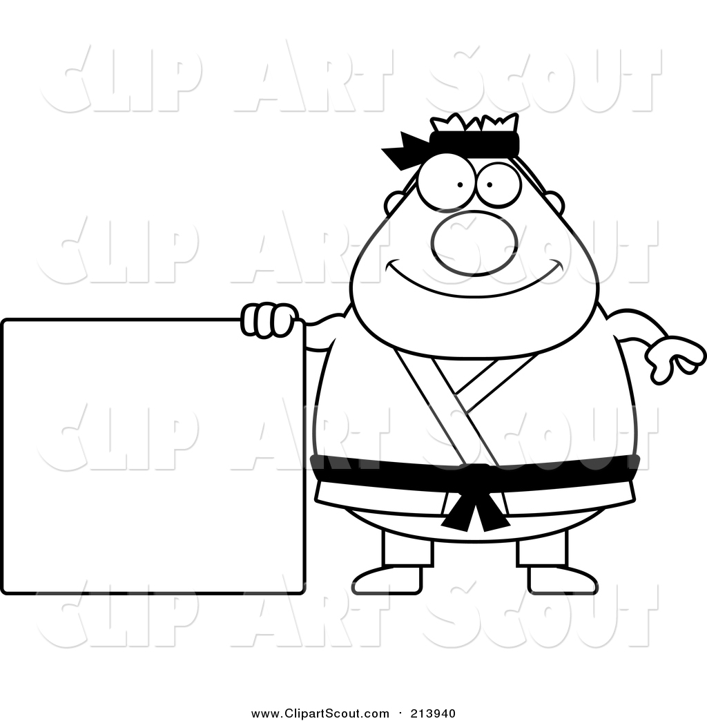 Clipart Of A Lineart Chubby Black Belt Karate Man With Sign