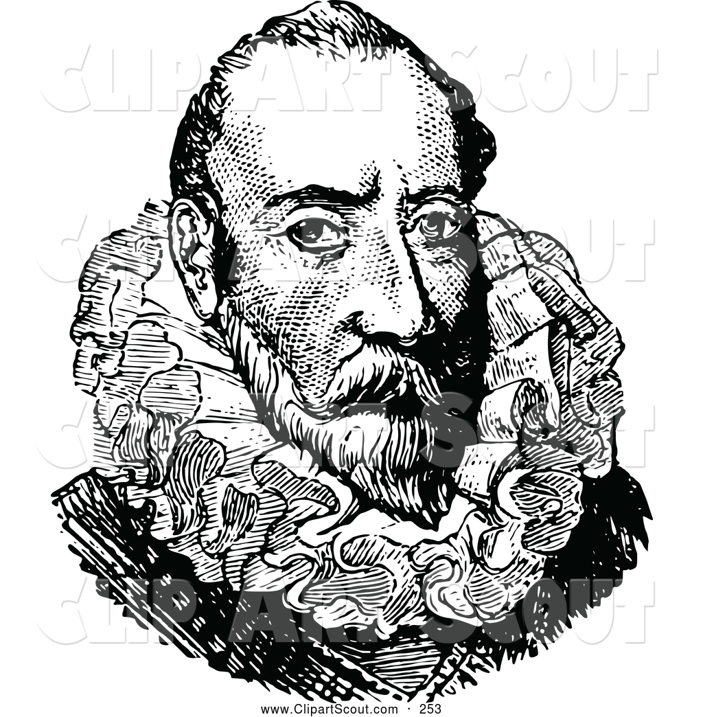 Clipart of a Retro Black and White Portrait of Christopher Columbus