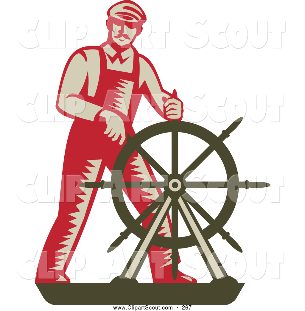 clipart of a retro captain steering at a ship 39 s helm by. Black Bedroom Furniture Sets. Home Design Ideas