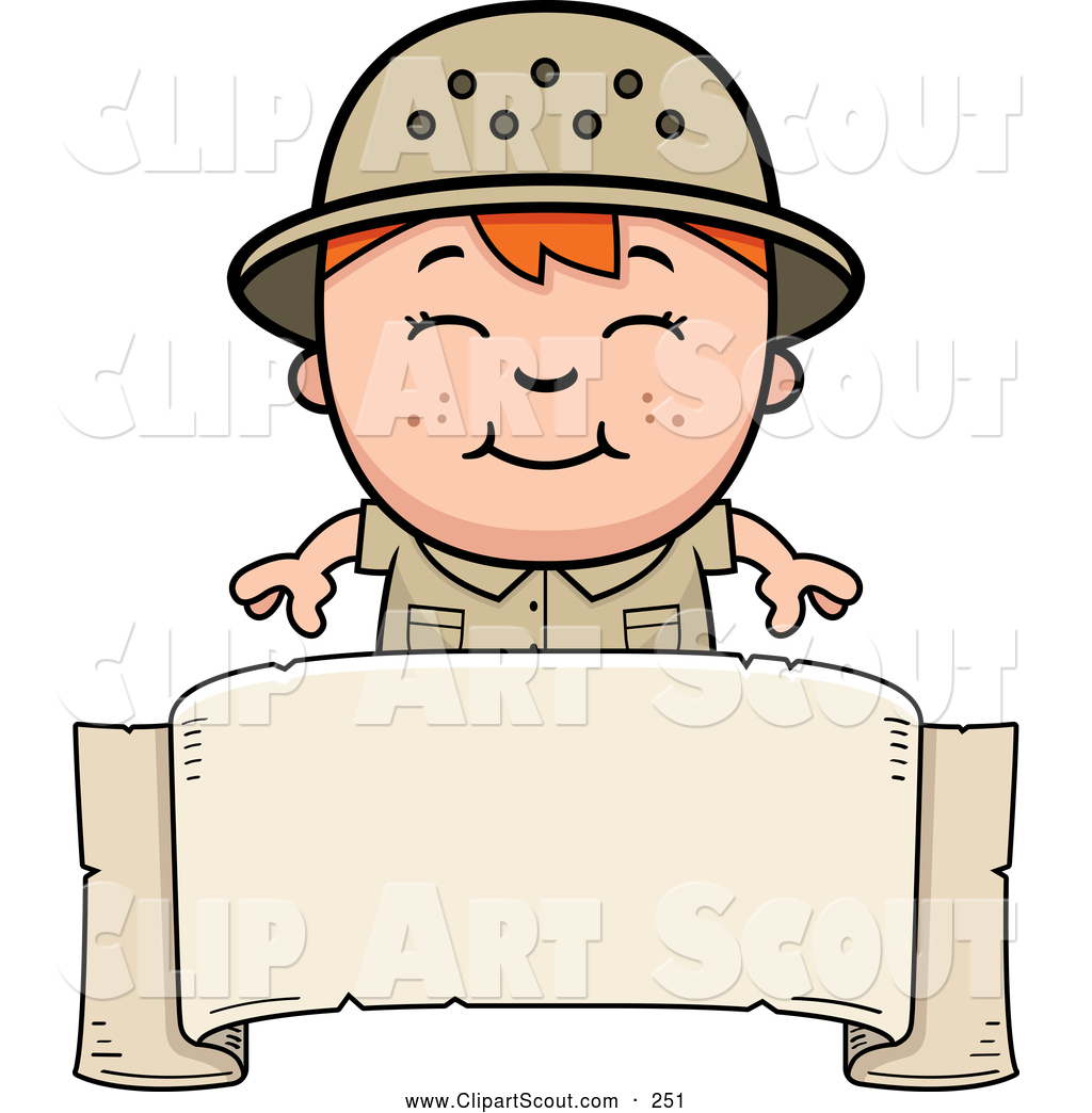 Clipart Of A Smiling Red Haired Safari Boy Over Blank