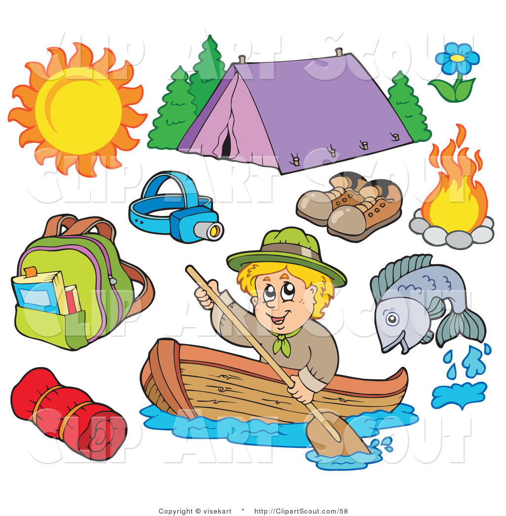 Clipart Of An Ourdoor Sports Digital Collage Summer Recreation And Camping Equipment