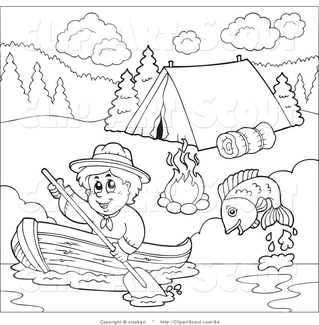 Clipart Of An Outlined Scout Boy Boating Past A Cground Scout Junior Coloring Pages Free