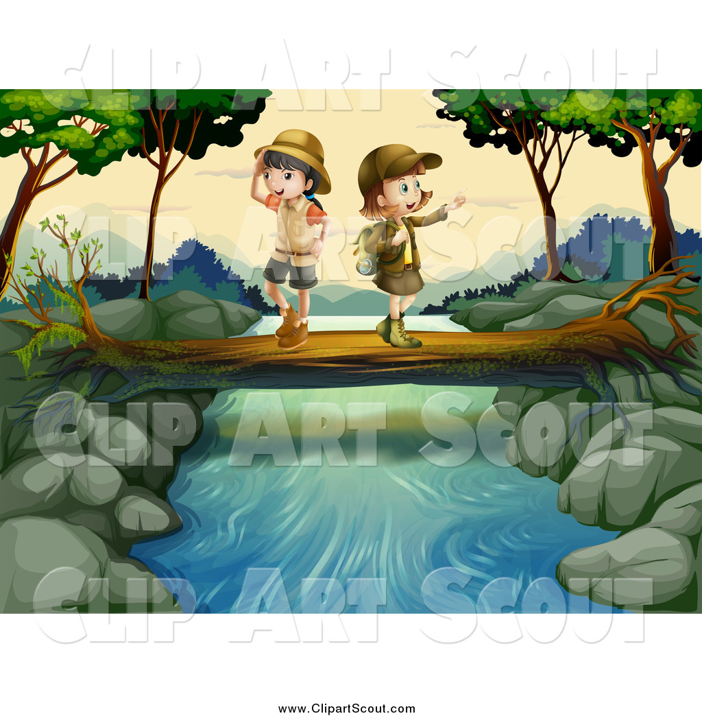 Clipart of Explorer Kids Crossing a Creek on a Log by colematt - #114