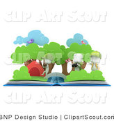 Clipart of 3d White Kids and a Pop up Book by BNP Design Studio