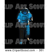 Clipart of a 3d Astronaut Floating on Blackness by Mopic