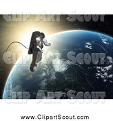 Clipart of a 3d Astronaut Performing a Space Walk Against Sunrise and Earth by Mopic