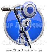 Clipart of a 3d Blue Scout Robot and Telescope Icon by Leo Blanchette
