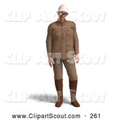 Clipart of a 3d Explorer in a Brown Suit by Ralf61