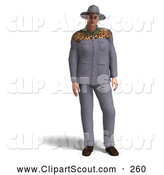 Clipart of a 3d Explorer in a Gray Suit on White by Ralf61