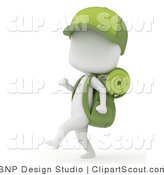 Clipart of a 3d Ivory Camper Boy Hiking with Gear and a Baseball Cap by BNP Design Studio
