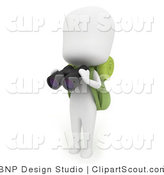 Clipart of a 3d Ivory Camper Man Holding Binoculars in Hand by BNP Design Studio