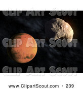 Clipart of a 3d Planet Mars and an Asteroid by Mopic