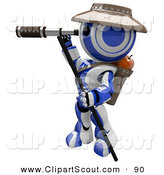 Clipart of a 3d Robot Scout Using a Telescope by Leo Blanchette