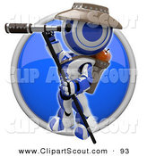 Clipart of a 3d Robot Scout Using Binoculars by Leo Blanchette