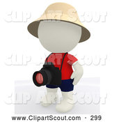 July 21st, 2013: Clipart of a 3d Teeny White Person Tourist with His Camera Ready by