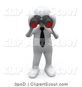 Clipart of a 3d White Person Looking Through a Pair of Binoculars by 3poD