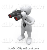 Clipart of a 3d White Person Using a Pair of Binoculars by 3poD