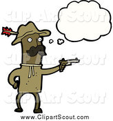 Clipart of a African Man Dressed As Teddy Roosevelt Thinking by Lineartestpilot