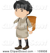 Clipart of a Bhutanese Boy in a Gho, with a Basket by Colematt