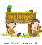 Clipart of a Bird and Two Cute Scout Kids by a Welcome Sign by Graphics RF
