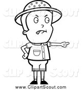 Clipart of a Black and White Angry Safari Boy Pointing by Cory Thoman
