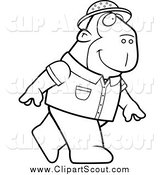 Clipart of a Black and White Ape Explorer Walking Upright by Cory Thoman