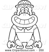 Clipart of a Black and White Coloring Page Outline of a Orangutan Monkey Explorer by Cory Thoman