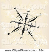 Clipart of a Black and White Compass Rose on Tan Grunge by MilsiArt