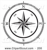 Clipart of a Black and White Compass Rose on White by MilsiArt
