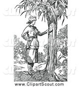Clipart of a Black and White Explorer Woman Reading a Note on a Tree by Prawny Vintage
