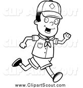 Clipart of a Black and White Happy African American Cub Scout Boy Running by Cory Thoman