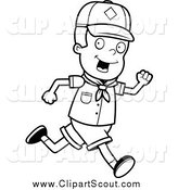 Clipart of a Black and White Happy Cub Scout Boy Running by Cory Thoman