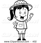 November 24th, 2013: Clipart of a Black and White Happy Safari Girl Waving by Cory Thoman