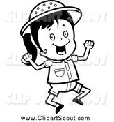Clipart of a Black and White Jumping Happy Safari Girl by Cory Thoman