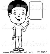 Clipart of a Black and White Lineart Adolescent Teenage Boy Talking by Cory Thoman