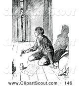 Clipart of a Black and White Man Peeking in at a Boy Scout Writing by Prawny Vintage
