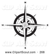 Clipart of a Black and White Ornate Compass Rose over White by Michaeltravers