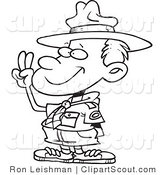 Clipart of a Black and White Outline of a Boy Scout Taking an Oath by Toonaday